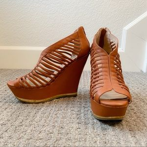 JustFab Brown Strappy Wedges